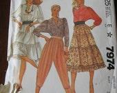 Vintage 80s McCalls 7974 Carol Little Misses Blouse, Skirt and Knickers Pattern sz 6 B30.5 UNCUT
