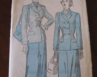 Vintage 1940's Tailored Dress Suit Pattern ADVANCE 4907 sz 16 B34