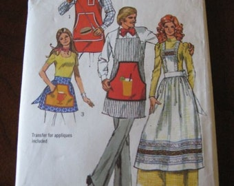 Vintage 70s Simplicity 5097 Womens and Mens Apron Pattern One Size