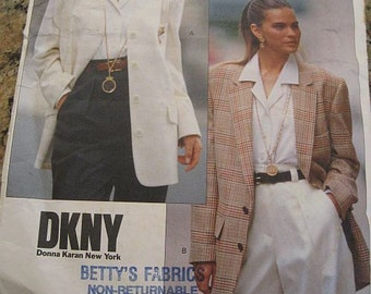 Vintage 80s Vogue 2373 DKNY Misses Jacket Blazer Pattern sz 6, 8, 10