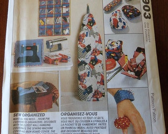 McCalls Crafts 6903 Sewing Room Organizers, Pin Cusions, Iron Board Cover UNCUT