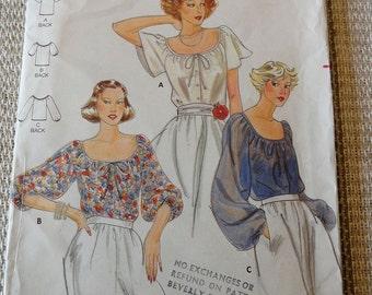Vintage 70s Butterick 5885 Misses Seet of Peasant Blouses Size 8 B31.5 UNCUT