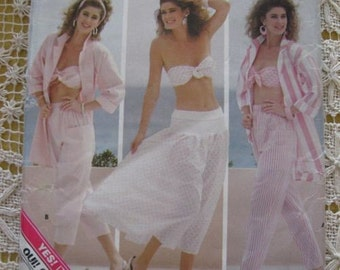 Vintage 80's Butterick 5674 Misses Bra, Pants, and Skirt Pattern sz 6, 8, 10 UNCUT
