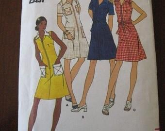 Vintage 70s Butterick 3558 Womens Semi Fitted A line Summer Dress Pattern sz 12 B34