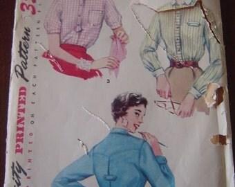 Vintage 50s Simplicity 4813 Misses Shirt Pattern sz 12 bust 30