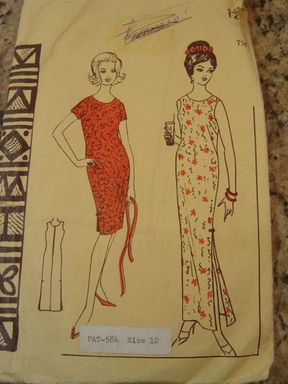 Vintage Polynesian Pattern 143 Hawaiian Muu Muu sz 12 B32
