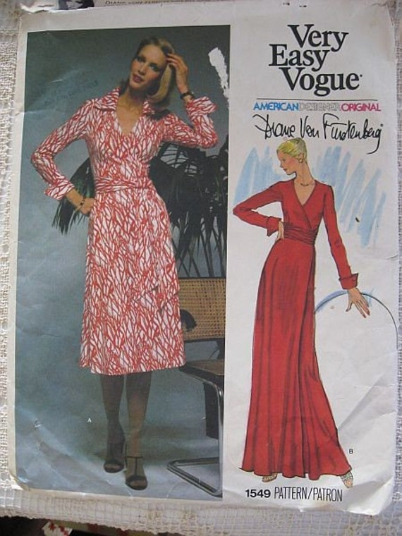 Dvf Dress Patterns Vintage s Vogue Diane