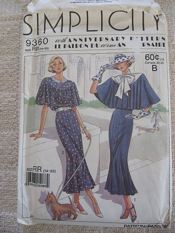 Vintage 80s Simplicity 9360 60th Anniversary Pattern Town Dress sz 14-20 B 36-42 UNCUT