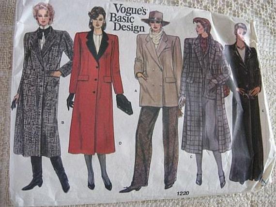 Vintage 80s Vogue 1220 Misses Coat Pattern sz 18  UNCUT