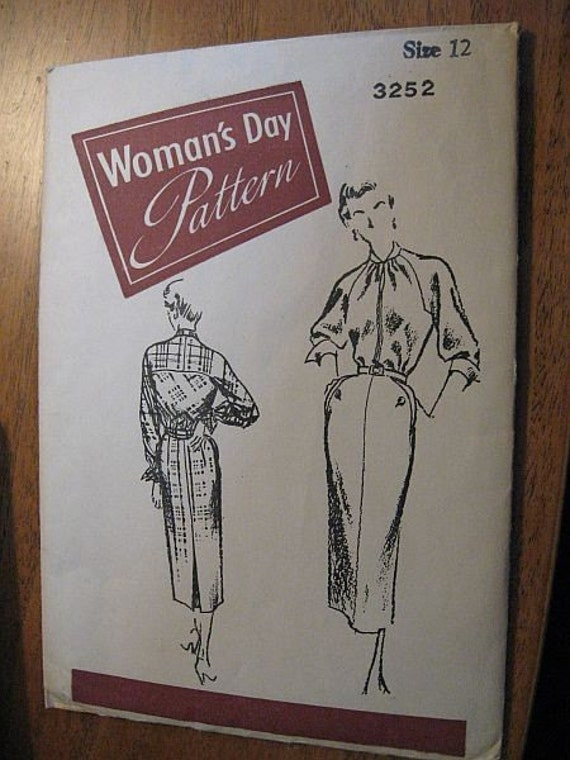 Vintage 50s Womans Day 3252 Tailored Dress pattern sz 12