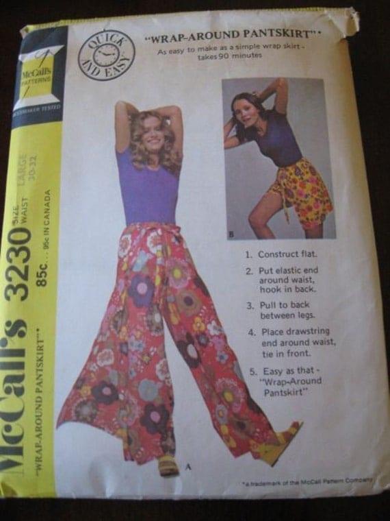 Vintage 70s Wrap Around Pants Skirt Mccalls 3230 Sz L W 30 32