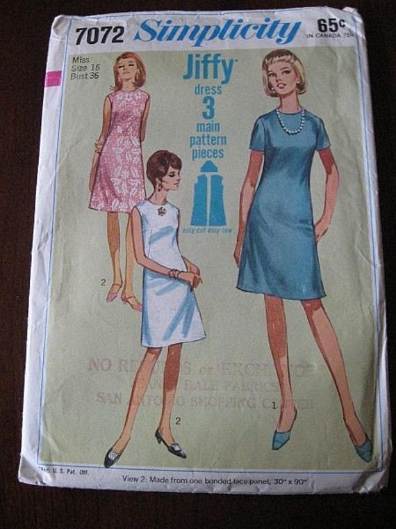 Vintage 60s Simplicity 7072 Jiffy A-line Dress Pattern sz 16 B36