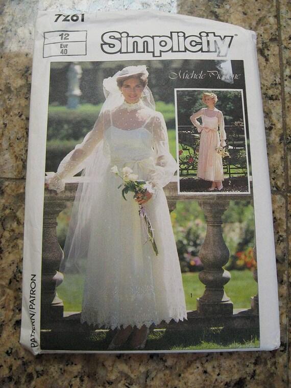 Vintage 80s Simplicity 7261 Michele Piccone Wedding Bridal Gown Pattern sz 12 B34 UNCUT
