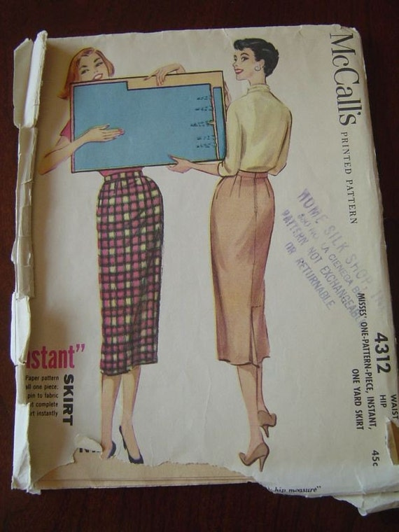 vintage 50s mccalls 4312 pencil skirt pattern w by