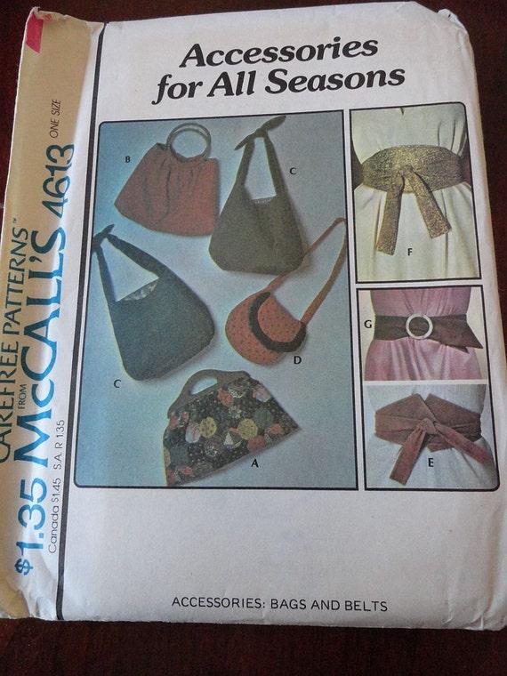 Vintage 70s McCalls 4613 Purses and Belts Pattern UNCUT