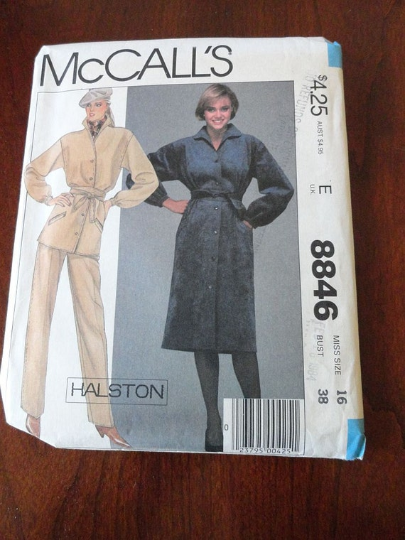 Vintage 80s McCalls 8846 Halston Misses Tunic Dress Pattern, size 16 B38