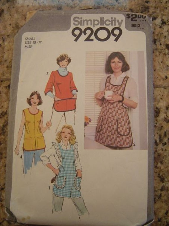 Vintage Simplicity 9209 Apron Pattern Smock Tunic sz Small