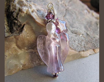 Cornerstoregoddess Amethyst Angel Charm Zipper Pull