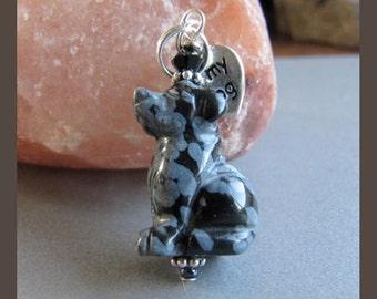 Cornerstoregoddess Snowflake Obsidian Lab Labrador Retriever Dog Charm
