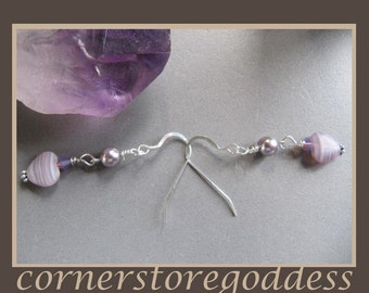 Gentle Lavender Valentine Heart Earrings by Cornerstoregoddess