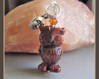 Jasper Hoot Owl Charm/Zipper Pull from Cornerstoregoddess
