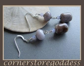 Psychic Purple Chalcedony Earrings by Cornerstoregoddess