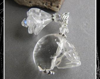 Cornerstoregoddess Quartz Crystal Halloween Day of the Dead Skull Charm Zipper Pull EHAG