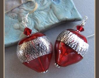 Foiled Lampwork Glass Heart Love Valentine Earrings from Cornerstoregoddess