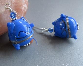 Lucky Good Fortune Kitty Cat Maneki Neko Earrings by Cornerstoregoddess