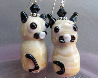 Siamese Kitty Cat Earrings by Cornerstoregoddess