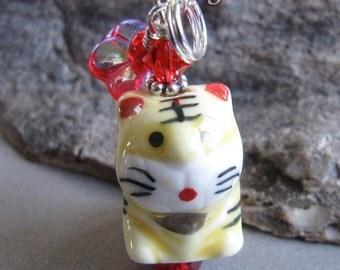 Maneki Neko Tiger Cat Year of the Tiger Charm Zipper Pull by Cornerstoregoddess