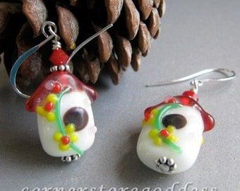 Lampwork Spring Birdhouse Bird House Earrings by Cornerstoregoddess