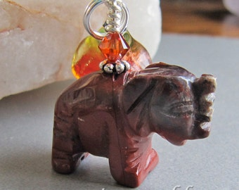 Jasper Elephant Charm by Cornerstoregoddess