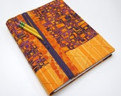 Refillable Blank Book Journal with Zipper Pocket - Orange & Purple