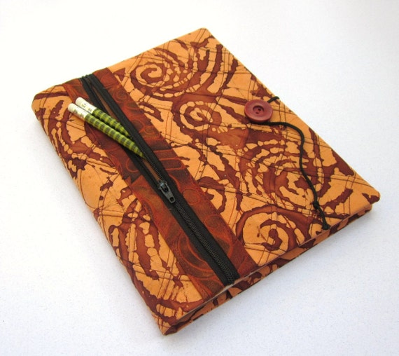 Fabric Covered Blank Book Journal with Zipper Pocket - Copper Batik Swirl