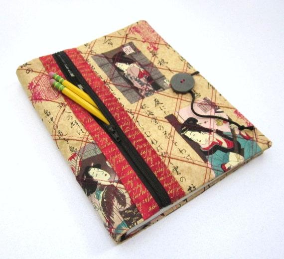 Refillable Blank Book Journal with Zipper Pocket - Geisha