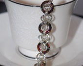 Argentium Silver Volcano Swarovski Crystal Orbital Chainmaille Bracelet