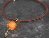 Swarovski Crystal Choker Necklace Brown Velvet and Orange Macrame