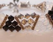 Swarovski Crystal sterling marcasite 3 strand pyramid bracelet Jet White Opal Crystal Cal 2x