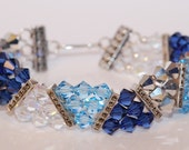 Swarovski Crystal Marcasite Blue Jean 3 strand pyramid triangle bracelet