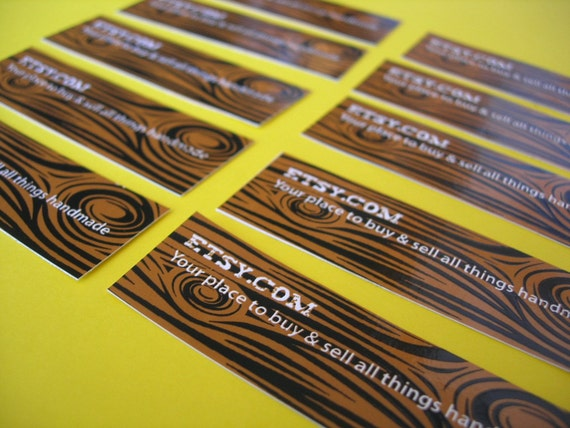 Woodgrain ETSY Stickers (Set of 10)