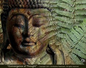 Earthy Buddha Art -Convergence of Thought - 14x11 Buddhist photo collage Zen giclee yoga art print
