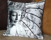 "Buddha Throw Pillow - 18"" black and white contemporary buddhist cushion case with Bliss of Being art"