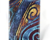 """iPhone 4 - iphone 4s case with blue and gold abstract artwork - """"Tides of Blue Thought"""""""