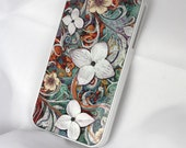 "iPhone 4 case - iPhone 4s case - white SLIM hard cover with green white and orange floral art ""Sangria Flora"""