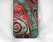 """Metallic iPhone 4 case /  4s SLIM hard case with green and orange """"Tides of Green Thought"""" abstract artwork"""