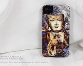 iPhone 4 case / iPhone 4s case - TOUGH hard cover with blue Buddha yoga artwork - Inner Guidance