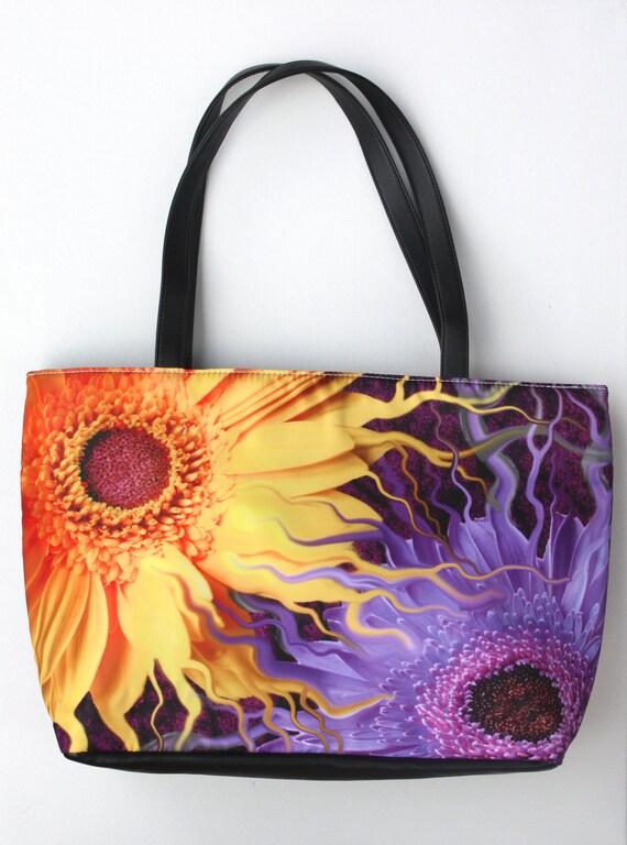"""Purple Gerbera Daisy Handbag - """"Daisy Yin Daisy Yang""""  Floral Art Purse"""