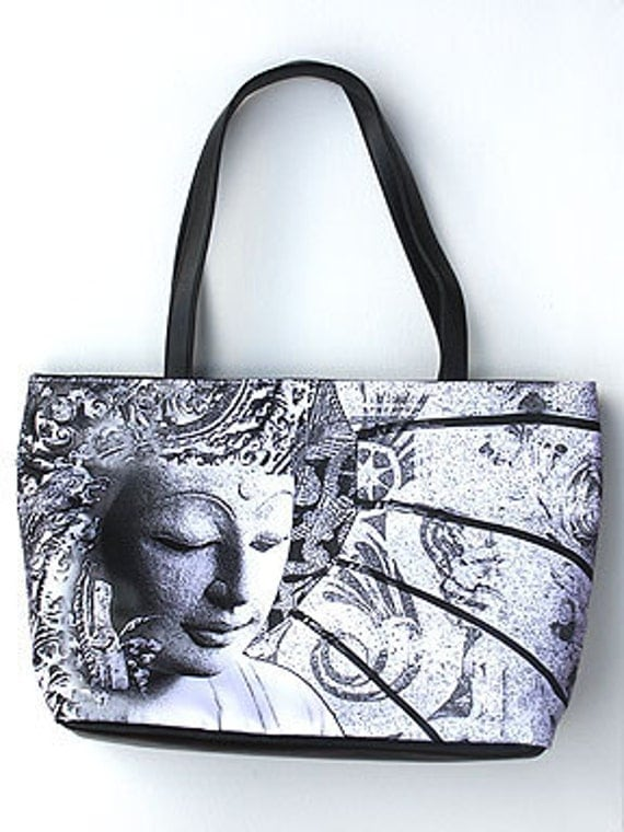"Buddha Art Purse - zippered tote ""Bliss of Being"" black and white large Buddhist handbag"
