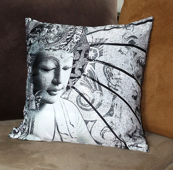 """Buddha Throw Pillow - 18"""" black and white contemporary buddhist cushion case with Bliss of Being art"""